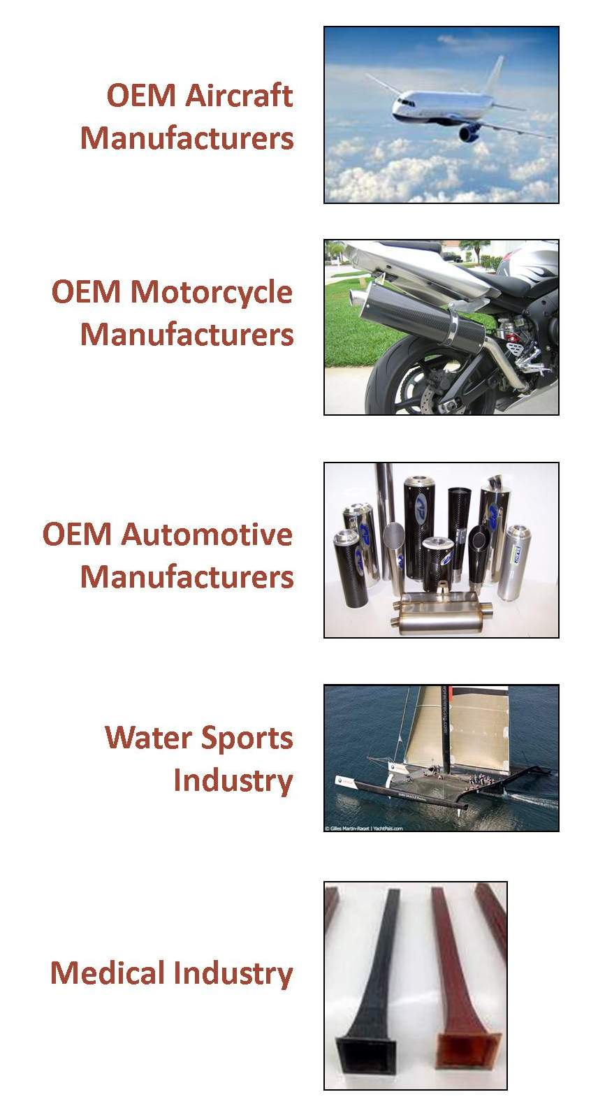 Advanced Composite Materials, Inc., A-C-M.com, produces carbon fiber products for the automative, motorcycle and aerospace industries.
